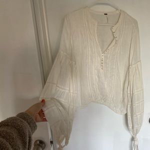 Free People Linen Button Blouse Top